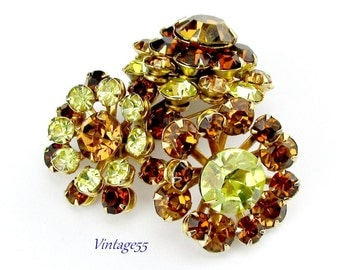 Brooch Rhinestone Fall Amber Yellow