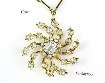 Rhinestone Pendant Necklace Baguette Gold tone Coro