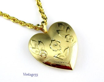 Locket Heart Etched Floral 14K GF Double Photo
