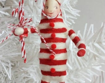 SALE Spun Cotton Ornament Candy Cane Kid