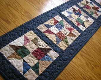 Quilted Table Runner, Patchwork Star Runner, 12 x 38 1/2 inches