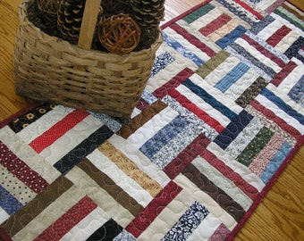 Quilted Table Runner, Traditional Rail Fence 15 1/2 x 39 1/2 inches