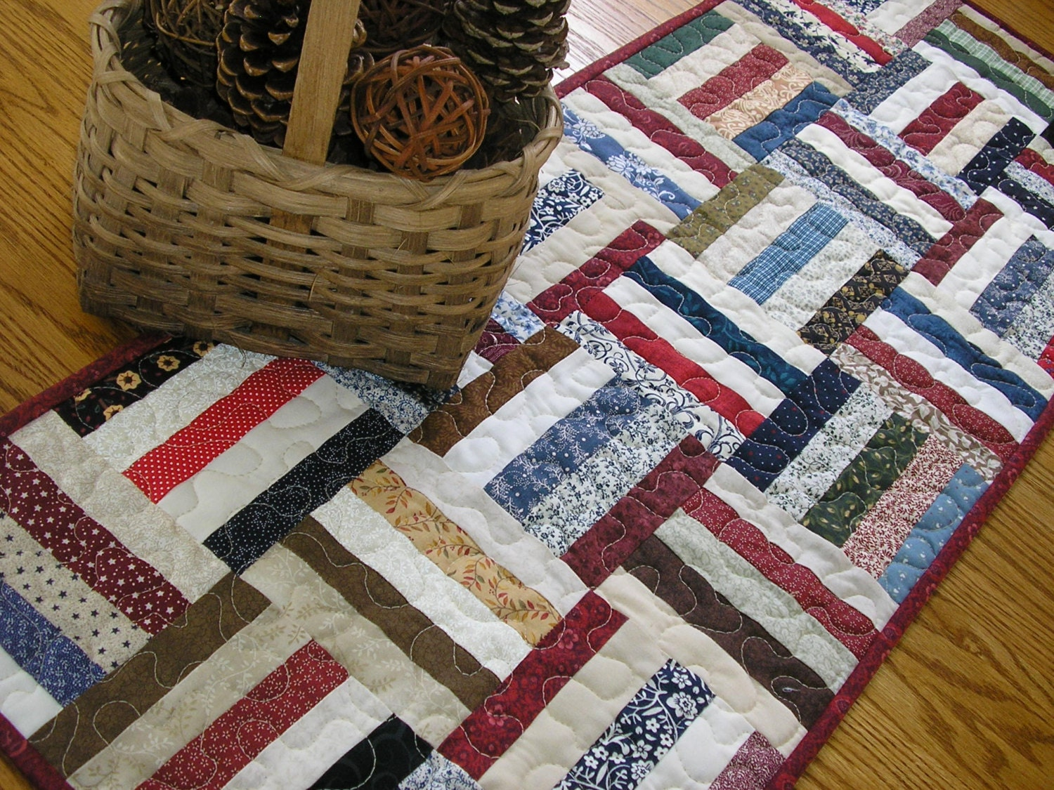 Quilted Table Runner Traditional Rail Fence 15 1/2 x 39 1/2