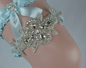 Wedding Garter - Bridal Garter - Light Blue Garter-Somthing Blue Garter-Crystal Garter