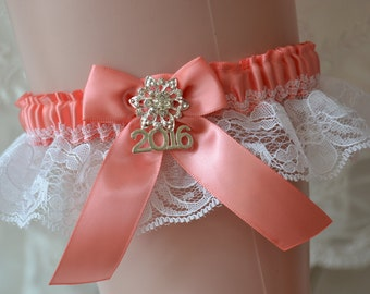 Coral Prom Garter, Custom Colors Prom Garter,White Lace  Prom Garters -Coral And White Lace Prom Garter, Year Charm Garter