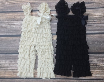 Pant Length Petti Lace Romper with Shoulder Straps and Bow S, M, or L Great for Fall!