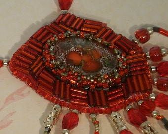 Red Flame and Silver Dicrohic Cabochon Necklace