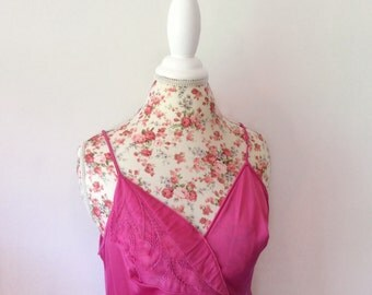 vintage pink camisole // 80's lingerie// 1980's Shadowline floral cami