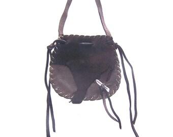 Beautiful Leather Medicine Bag / NECK Bag ..DARK BROWN