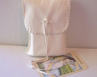 Leather Tarot Bag / Medicine Bag...LARGE Vertical Flap..WHITE