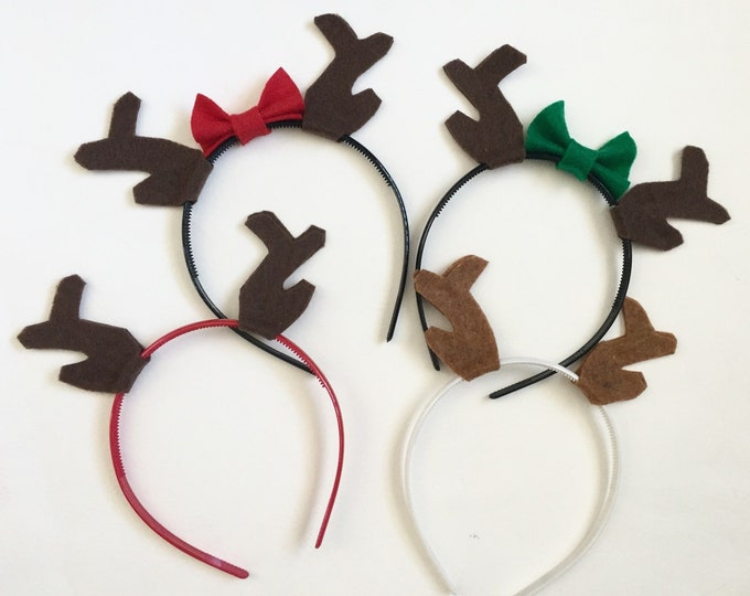 Featured listing image: Antler Headbands, Group Costume, Family Set, Photo Props, Reindeer Antlers, Holiday Card, Christmas Party