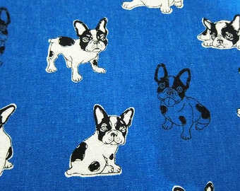 Animal Print Fabric - French Bulldogs on Blue - Cotton Linen Blend Fabric By The Yard - Half Yard