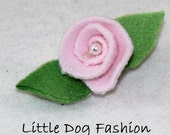 Pink Rose Alligator Clips for small dogs