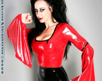Latex Gothic Top with long draped sleeves, great for Vampire or Sorceress costume!