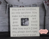 Custom, 20x20, Picture Frame, Personalized, Antique White, You Are My SUNSHINE, Lullaby, Nursery Decor, Baby Gift, Godparents, Nursery Art