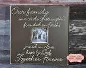 Picture Frame, Our family is a circle of strength, Chocolate brown, Family Quote, Housewarming, Wedding Gift, Extended family