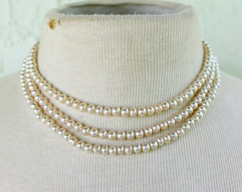 Multi Strand Pearl Necklace Glass Statement Vintage 1950s