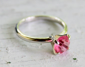 Sarah Coventry Ring Pink Solitaire October Birth Stone