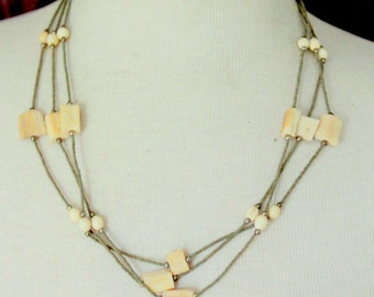 Vintage Necklace Bone Beaded Multi strand Statement