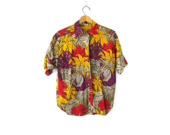 Tropical Floral Print Graphic Shirt 80s Button Up tee Vintage Bright Short Sleeve Blouse Retro Beach Shirt size Medium