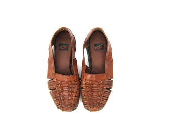 Braided Brown Leather Sandals Vintage Closed Toe Minimal Huaraches Slip On Sandals Boho Summer Shoes Women's Size 7.5 B