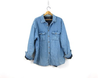 Vintage oversized insulated lined denim shirt coat work shirt rugged Distressed camping hipster jean jacket shirt Men's Size XL Extra Large