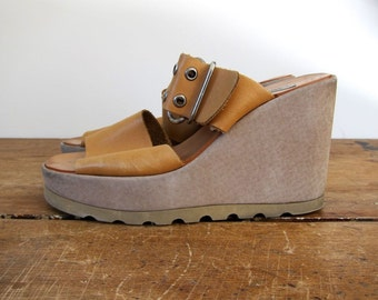 Leather Wedges Thick Strap Buckled Sandals Peep Toe Hippie Platform Shoes Wedge Sandals 90s Beige Tan Leather Sandals Womens 8