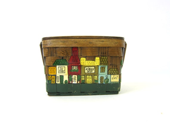 1960s Caro Nan Basket Purse woven Sewing craft bag Happy City Scene Brown Insulated Lunch Box Womens Boho Bohemian Chic Wooden Basket