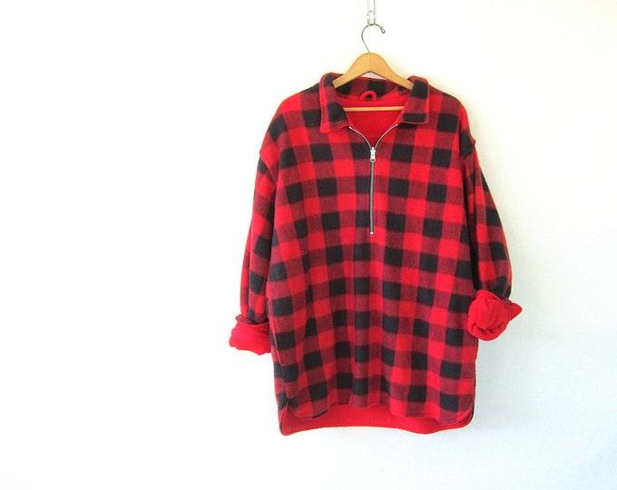 vintage red and black buffalo check fleece sweatshirt Oversized reversible Marlboro sweater with zipper Unisex Size XL