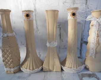 Painted Vases, Shabby Chic Vases, Glass Vases, Wedding Vases, Party Vases, Bud Vases, Upcycled Vases