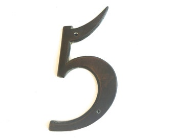 Vintage Brass House Number ~Number Five ~ Wall art vintage salvage ~ Mid Century 5