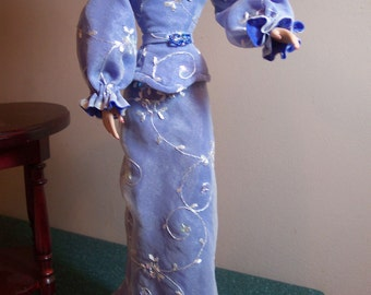 """Periwinkle Blue Embroidered Silk Organza Evening Gown and Belt for 16"""" Gene Marshall Dolls"""