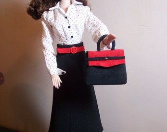 Gene - Softly Tailored Afternoon Outfit in Red, Black, White, Plus Accessories