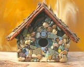 Mosaic Stone Birdhouse, Twig Roof and Bottle Caps and Blue Moon Accents
