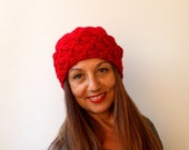 50% CLEARANCE SALE Women's Knit Wool Hat Slouchy Beret - Pompom Hat -  Red Beret / Chunky / Pom pom /Baggy / Beanie