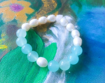 Nurture Your Intuition - Water Your Soul - Stretch Bracelet / Chalcedony and AAA SweetWater Pearls
