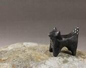 Little Black Fox - Hand Sculpted Miniature Terrarium Figurine Ceramic Animal