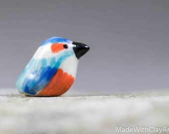 Little Kingfisher Bird - Terrarium Figurine - Miniature Ceramic Porcelain Animal Sculpture - Hand Sculpted
