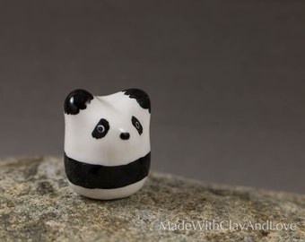 Little Panda Bear - Miniature Polymer Clay Animal Terrarium Figurine - Hand Sculpted