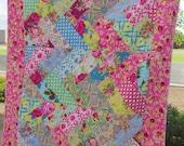 Roses Chevron Lap Sized Quilt Jennifer Paganelli Good Company Fabric Girly Gift Handmade vintage style