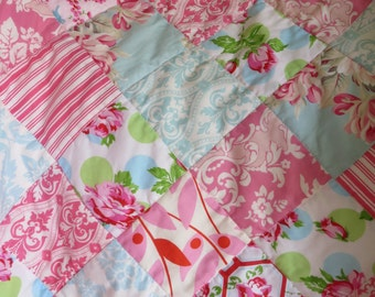 Baby Girl Quilt Lovey Patchwork Roses Flowers Aqua Pink Red Green   Nursery Gift Stroller  OOAK