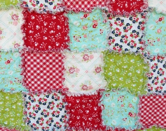 Rag Quilt with Bonnie & Camille Vintage Picnic  Custom  Made to Order You choose size and fabrics Toddler Queen King Twin Lap Picnic