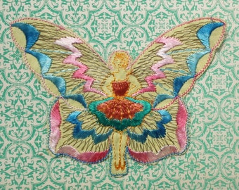 Vintage Applique 1920s 1930s Sew On Fabric Applique Butterfly Girl Ballet Dancer 20s 30s Trim Yellow Peach Pink Blue Silver Metallic Thread