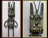 Ron Jones Street Artist AFRO TECH-Very Large Hip Hop Found Object Jackal Pendant Necklace/Assemblage,Signed,Vintage Jewelry,Unisex