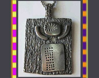 Hey Mr. SPACEMAN--Guy Vidal Brutalist Abstract Figural Space Alien Pendant,Book Piece,1970s,Vintage Jewelry,Unisex