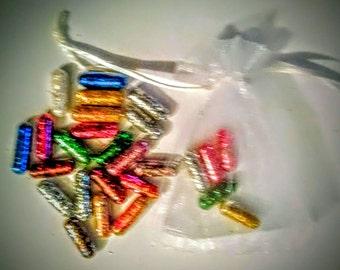 Glitter Pills, Glitter Pills, Multicolor, Glitter in Lace Bag with pull string. New Years Favor, Gag Gift, Raver Gift, Glitter.... 10 pills