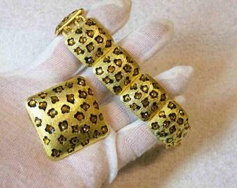 Craft Designer Gold Tone And Rhinestone Bracelet / Brooch / Vintage Fashion