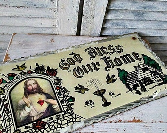 1930's GoD BLeSS OuR HoMe PLaQuE!!  RESERVED For Betty until April 30th