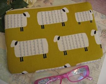 sheep on mustard  yellow  ipad mini cover  /farm /  ipad mini case/ padded pouch