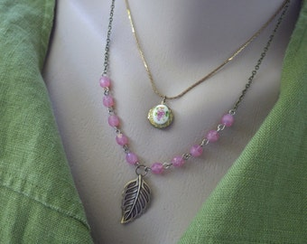 Pink Layer Necklace ~ Pink Opal ~ Charm Necklace ~ Leaf Necklace ~ by Upsweptillusions